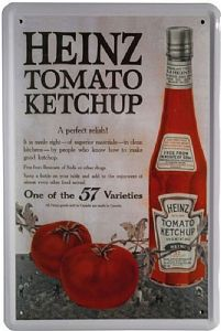 Heinz Tomato Ketchup (Bottle & Tomatoes) metal sign 300mm x 200mm (jk)